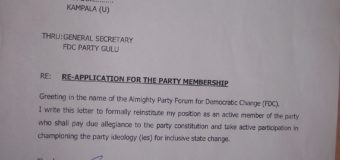 Former Gulu FDC Defectors Reapply To Join Party